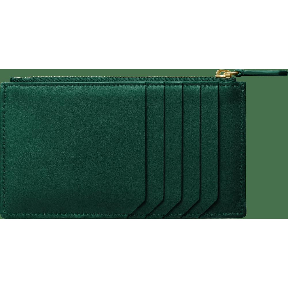 Guirlande de Cartier拉链式卡片夹 绿色 小牛皮