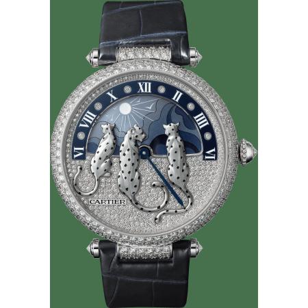 Panthère猎豹装饰珠宝腕表 大号 18K镀铑白金 自动上链