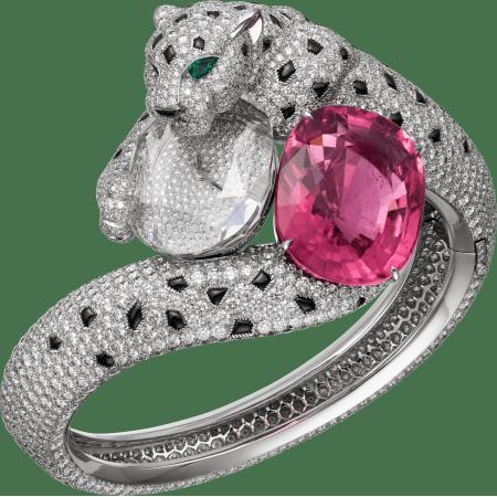 高级珠宝猎豹装饰腕表  18K白金