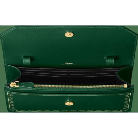 Guirlande de Cartier皮夹式手袋 绿色 小牛皮