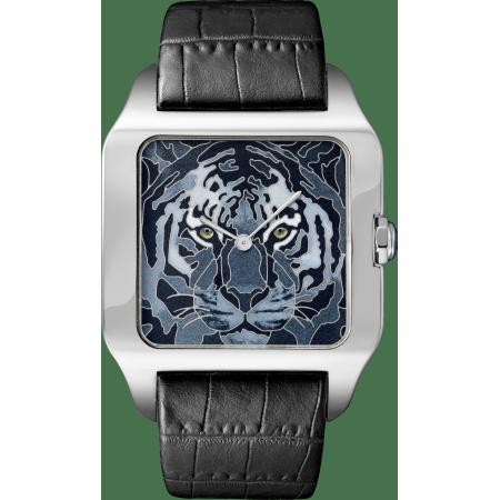 Santos-Dumont珐琅老虎装饰腕表 加大号 18K白金 手动上链