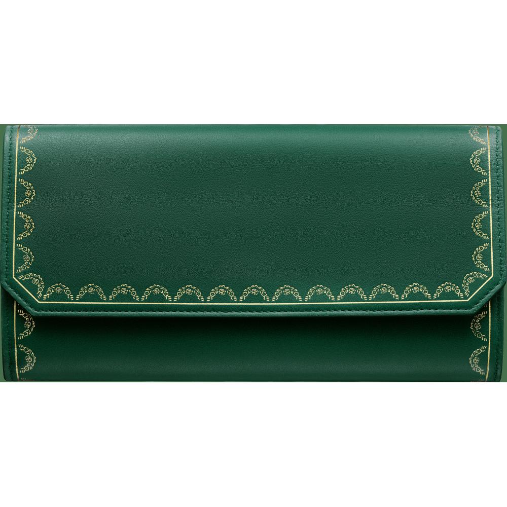 Guirlande de Cartier翻盖通用型皮夹 绿色 小牛皮