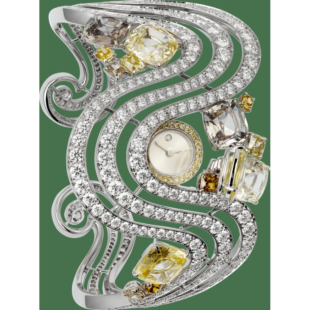 高级珠宝腕表 女士 18K镀铑白金 石英
