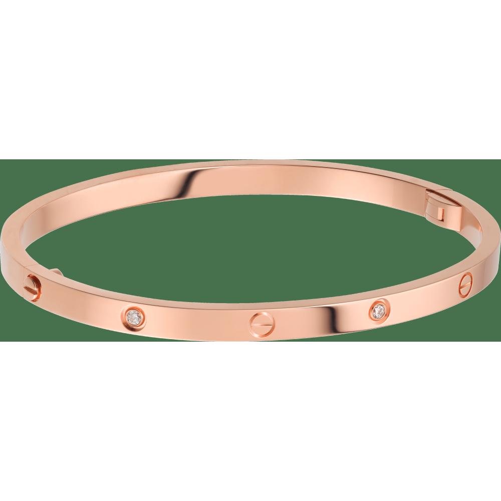 LOVE手镯,小号款,镶嵌6颗钻石 18K玫瑰金