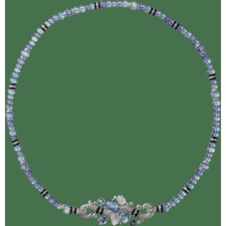 镌刻宝石项链 18K白金