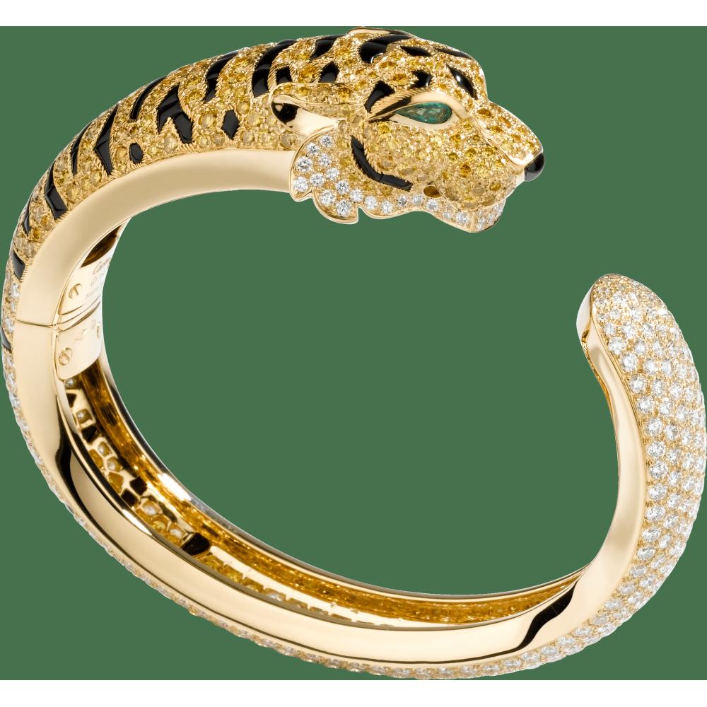 卡地亚动物与植物系列手镯 18K黄金