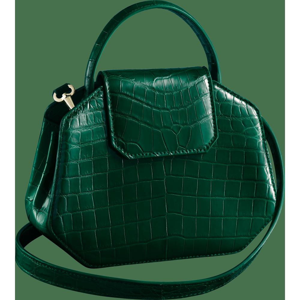 Guirlande de Cartier迷你手袋,带顶部提手 绿色 鳄鱼皮