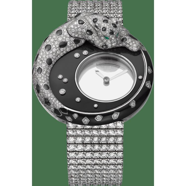 Panthère Mystérieuse猎豹装饰神秘小时腕表 40毫米 18K镀铑白金 手动上链