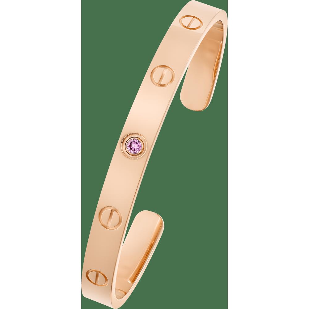 LOVE手镯,镶嵌1颗粉色蓝宝石 18K玫瑰金