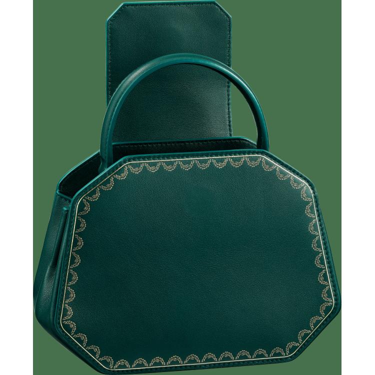 Guirlande de Cartier迷你手袋,带顶部提手 绿色 小牛皮