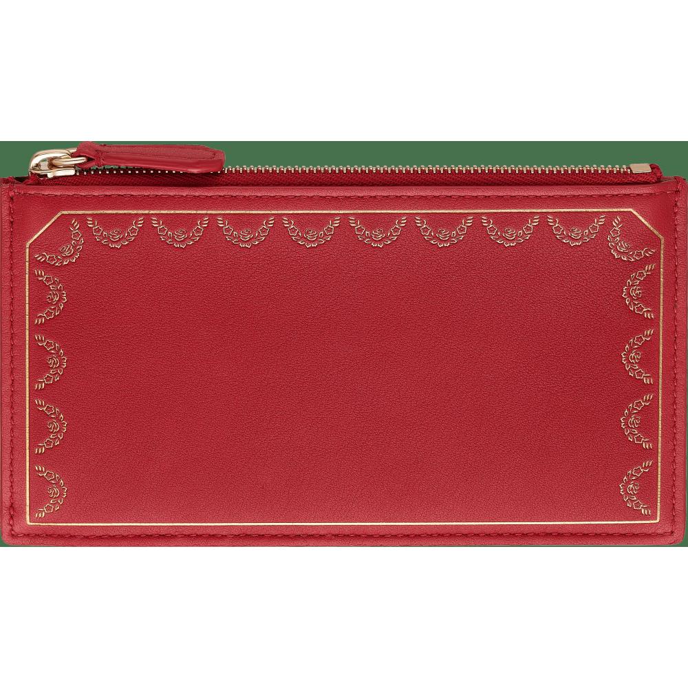 Guirlande de Cartier拉链式卡片夹 红色 小牛皮