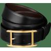 黑色牛皮,镀金饰面带扣