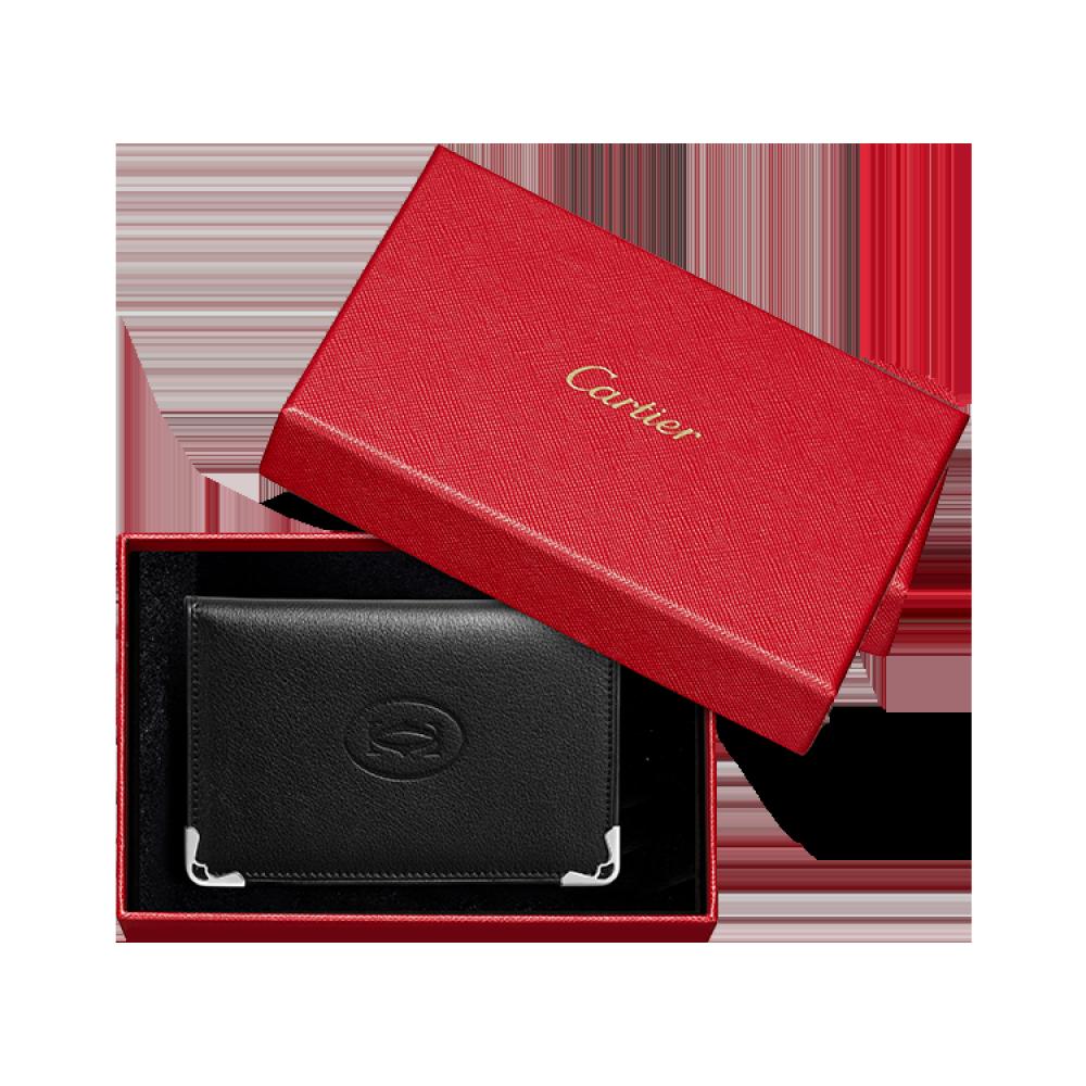 Must de Cartier信用卡/名片夹 黑色 小牛皮